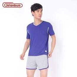 Wholesale New Men s Bamboo Pajama Set V neck Short Sleeve Lounge Set Sleepwear Colors M XXL