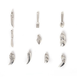 Wholesale New Mixed Antique Silver Plated Zinc Alloy Peanut Knife Fork Charms Pendants DIY Metal Jewelry Findings jewe