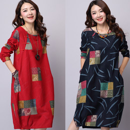 Wholesale Women dress Winter Dress Plus Size Women Clothing Loose Vintage Dress Long Sleeve Dress Patchwork Casual Dress Linen Maxi Dress One Piece