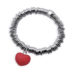 European Style 925 Sterling Silver Sweetie Stretched Bracelet w  Enamel Red Pink Gold Silver Heart Charm