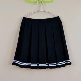 Acheter en ligne Mignon cosplay fille-Multi couleur Japonaise haute taille plissé jupes JK étudiant filles pleines plissé jupe mignonne Cosplay jupe uniforme scolaire
