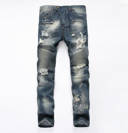 Wholesale 2016 Famous Balmain Distressed patches Biker Cargo stretch Demin jeans TOP Hiphop Cropped Jeans with Extreme ripped Straight Plus size42