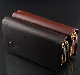 Wholesale allets Holders Wallets Sincere service upscale men s leather wallet double pull double clutch brand bit high capacity multi card wall