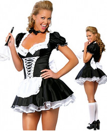 Wholesale zt8181 French Maid Costume Uniform Sexy Adult Dress up cosplay without fur brush size S M L XL XL XL XL