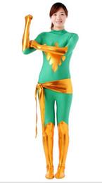 Gold And Green Unisex Lycra Shiny X-Men Jean Dark Phoenix Zentai Bodysuit Catsuit