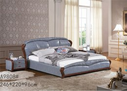 Wholesale GENUINE LEATHER BED ELEGANT STYLE GREY MODERN SIMPLE DOUBLE PERSON FASION FURNITURE GOOD QUALITY cm AFA9808