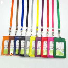 Free Shipping 10Pcs PU Leather School Office Business Vertical ID Badge Card Holder With Lanyard ID Badge Credit Double Slot