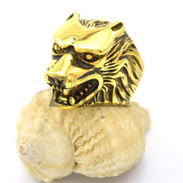 Fashion Punk Cool Gold Animal Ring Top Popular Wolf Stainless Steel Ring For Men 100% Free Shipping