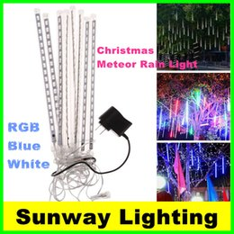 Wholesale LED Christmas lights Outdoor decoration waterproof Blue White RGB Snowfall Rain LED Meteor Shower Light Tubes EU US UK AU Plug