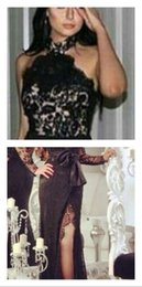 Wholesale Arabian Black Lace Side Split Evening Dresses High Neck Ribbon Sash Prom Party Gowns Custom Made New Arrival