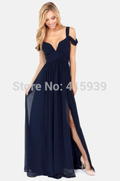 Wholesale Hot sale New Arrival Bariano Ocean Of Elegance Navy Blue Color Chiffon Long Events Evening Dress Women Gown Prom Dresses