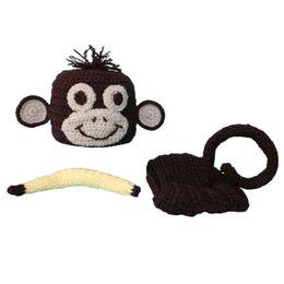 Wholesale Crochet Baby Monkey Outfit Handmade Baby Boy Girl Monkey Hat Diaper Cover Banana Set Infant Halloween Costume Newborn Toddler Photo Prop