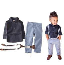 Latest design summer baby boys outfits long sleeve shirt+suspender jeans 2pcs boy's suit kids formal gentle suit boy denim clothing set