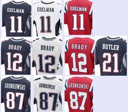Wholesale Men s Elite Jerseys Julian Edelman Tom Brady Malcolm Butler Rob Gronkowski Stitching Embroidery jersey top quality