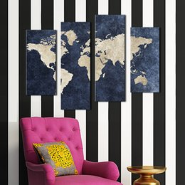 Wholesale 4 panel Blue Map Flag Painting A World Map With Mazarine Background Picture Print On Canvas For Home Modern Decoratio