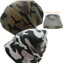 Wholesale Army Warm Mens Value Knit Camo Cuffed Hot Hat W H Brushed Thermal Lining So Soft Double Layer