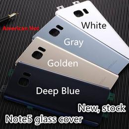Wholesale Original Note5 Coque arrière Boîtier en verre Boîtier de porte en verre pour Samsung Galaxy Note N920 N920F Verre Livraison gratuite