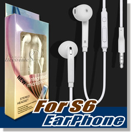Wholesale S6 S7 Earphone Earphones Headphones Earbuds iPhone s Headset for Jack In Ear wired With Mic Volume Control mm White With RetailBox