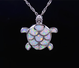 Wholesale & Retail Fashion Jewelry Fine White Fire Opal Sea Turtle Stone Sliver Pendants and Necklace For Women PJ17082713