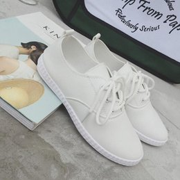 The 2016 summer spring and autumn white shoe leather female leisure sport shoes with lace up shoes a single Xieping tide.