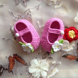 Wholesale Crochet Shoes Baby Prices - Hot Sale Baby Crochet Shoes Rose Flower Pattern Many Color Cotton 5 pairs   lot good quality good price very popular Free Shipping