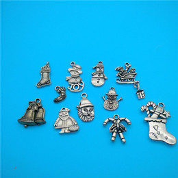 Mixed Tibetan Silver Snow Boots Santa Claus Christmas bells Charms Pendants Jewelry Making Bracelet Necklace Fashion Popular Jewelry Access