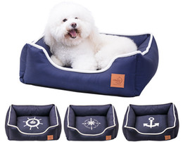 Pinco Navy Waterproof Bolster Pet Bed Dog Bed Four Seasons Common Bed, Removable & Washable Cover and Extra Comfy Cotton-Padded