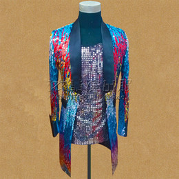 Free ship mens stage performance red blue gradient color sequined tuxedo jacket stage wear singing bar wedding ,only jacket
