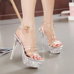 Plus Size Summer New Arrival Pumps Lady Sandal Shoe Simple Woman High Heel Crystal Transparent Stiletto Heel Party Prom Wed Shoe for Woman