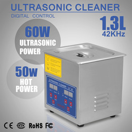 Wholesale 1 L ULTRASONIC CLEANER CLEANING STAINLESS STEEL W HEATER HOME USE BRUSHED TANK W HEATED LED DISPLAY BRACKET TIMER DIGITAL CONTROL