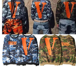 Wholesale VLONE LA hoodie Military Army Camouflage Sweatshirts Men Brand Clothing Hoodies Hip Hop Skateboard Hooded Sweatshirts Homme