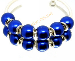 100PCS Lot Beautiful Royal Blue Imitation Pearl Charms Silver core loose European Big Hole Acrylic Beads for Jewelry Making Low Price