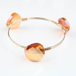 Wholesale Fashion Orange Crystal Jewelry Exclusive New Handmade Winding Iron Wire Bangles Charm High Quality Bracelets for Women Unique Memorial Gift