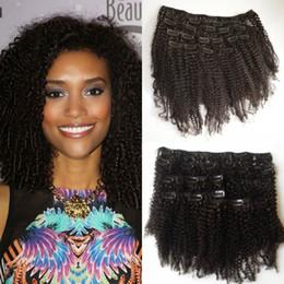 Peruvian Kinky Curly Clip In Human Hair Extensions 100% Human Hair 7pcs lot 120g no shedding G-EASY