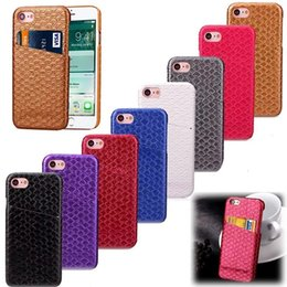 Poissons carte de crédit en Ligne-ID Cartes de crédit Case slot hybride en cuir pour iPhone 7 Plus I7 Iphone7 Placage Gluing Poisson Mode Échelle Grain dur PC Phone 200pcs Cover Skin