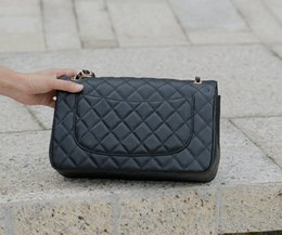 Fashion Brand Classic Large Classial 30CM Jumbo Quilted Chain Messenger Bags Black Caviar Leather Double Flaps Shoulder Bag Gold   Silver