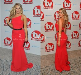 Wholesale Sexy Danielle Armstrong Classic Red Satin Mermaid Evening Prom Gowns TV Choice Celebrity Dresses Backless Plus Size Party Dress Cheap