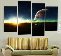 4 Panel Modern Sunrise Space Universe Picture Painting Cuadros Wall Decor Canvas Art Home Decor For Living Room(No Frame)