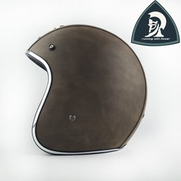 Adult Sizes Leather Motorcycle Open Face Helmets Road With Clear Bubble Len China Vespa Open Face Retro Helmet Scooter Motorcycle