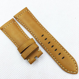26mm 125 75mm Fashion Orange Waxy Calf Leather Band Strap for PAM LUNMINOR RADIOMIR Watch band