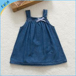 Wholesale New styles online shipping deep blue denim kids bonnie summer dresses m years baby girls dress jeans