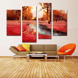 Wholesale LK4208 Panel Deer On The Autumn Red Forest Near River Oil Painting Wall Art Mordern Pictures Print On Canvas Paintings Sale For Home Bar
