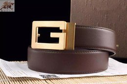 Wholesale 2016 Belts For Men G Brand New Classic Copper Buckle Advanced Solid Leather Belts Men Is Business Casual Dress Special Offer