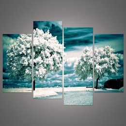 4 Panel tree Painting Canvas Wall Art Picture Home Decoration Living Room Canvas Print Painting--Large Canvas Art Unframed h 161
