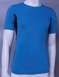 Wholesale Fitness Shirt Running Clothes Men GYM Tee Workout Shirt YOGA Wear Sportswear Training Spandex Dry Quick Tight Hit Color Short Sleeves