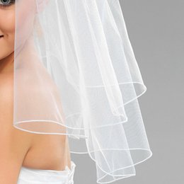 Hot Amazing Best Selling One Layer shoulder Length White Ivory Line Edge Veil Mantilla Veil Bridal Head Pieces For Wedding Dresses