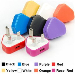 Wholesale 100PCS High quality UK Colorful Wall Charger Adapter UK Plug USB home Travel adapter multi color for iPad Air iphone S Samsung