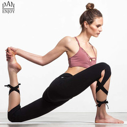 Wholesale Women Yoga Pants Sport Leggings Fitness Cross Yoga High Waist Ballet Dance Tight Bandage Yoga Cropped Pants Sportswear