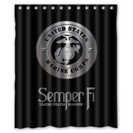 Wholesale Custom Creative Home Ideas Marine Corps Logo Bathroom Waterproof Polyester Fabric x180cm Shower Curtain