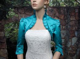 Free Shipping Teal 3 4 sleeve satin wedding bolero jacket shrug Bridal Wraps & Jackets bolero mariage